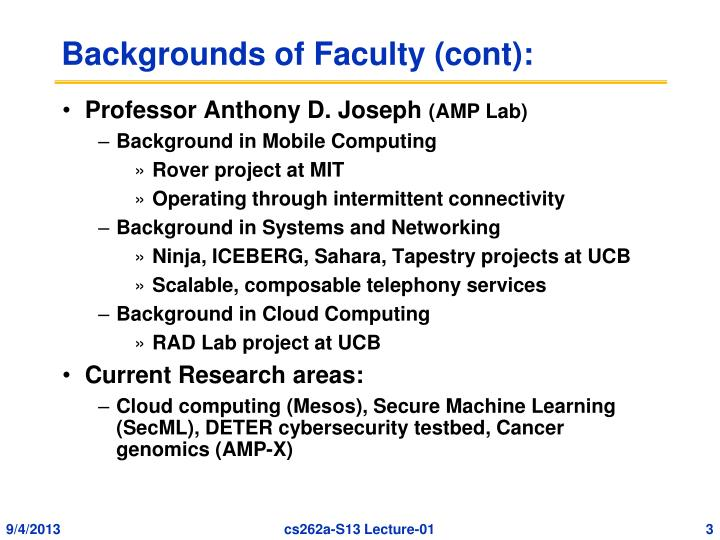 Backgrounds of faculty cont