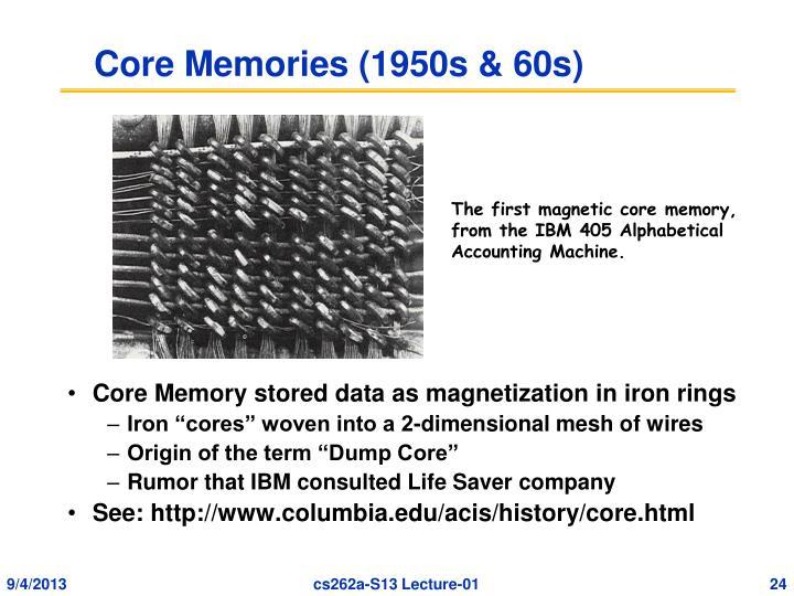 Core Memories (1950s & 60s)