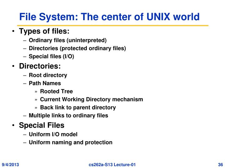 File System: The center of UNIX world