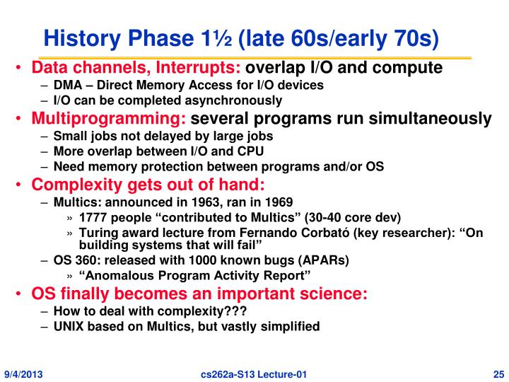 History Phase 1½ (late 60s/early 70s)