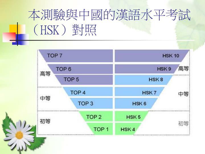 本測驗與中國的漢語水平考試(