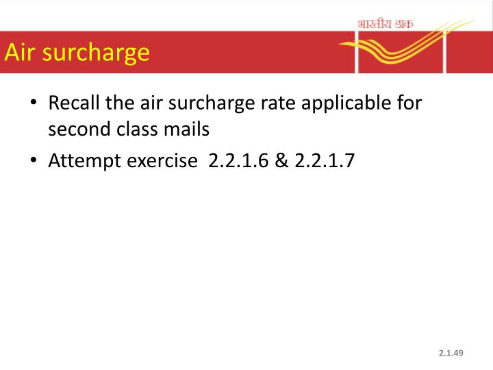 Air surcharge