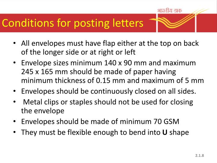 Conditions for posting letters