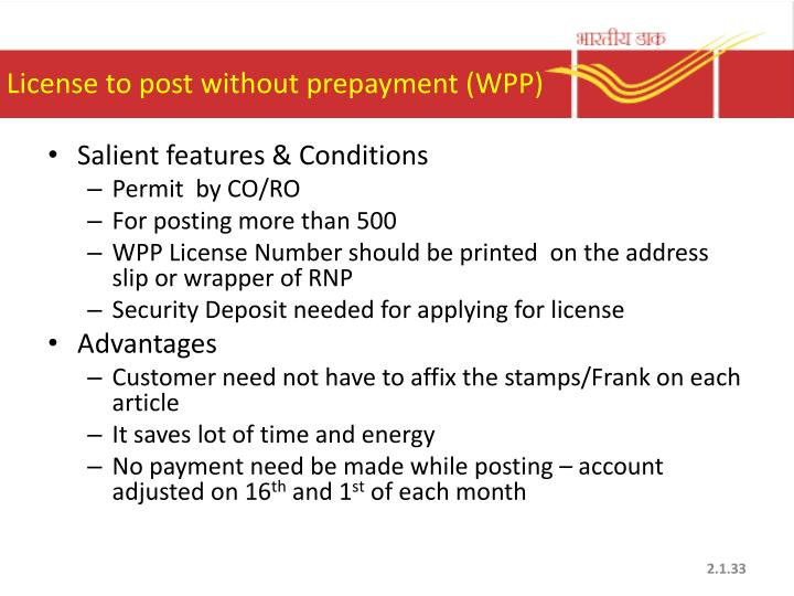 License to post without prepayment (WPP)