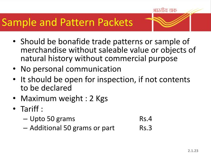 Sample and Pattern Packets