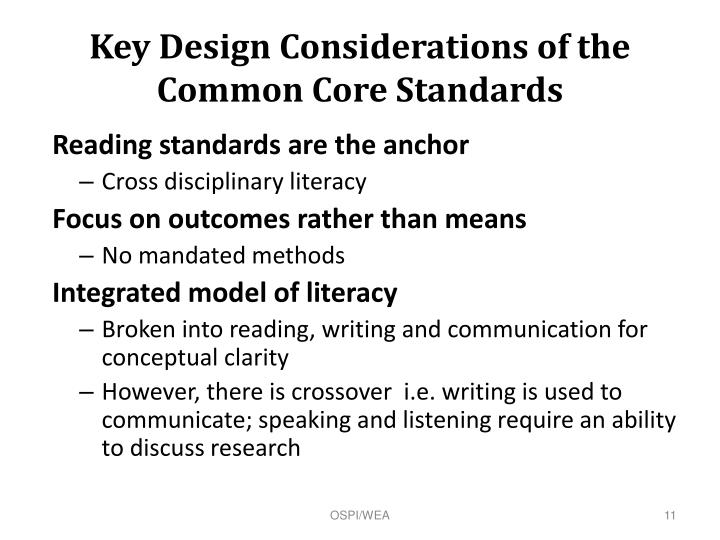 Key Design Considerations of the Common Core Standards