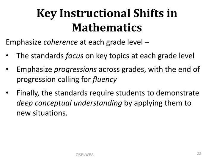 Key Instructional Shifts in Mathematics