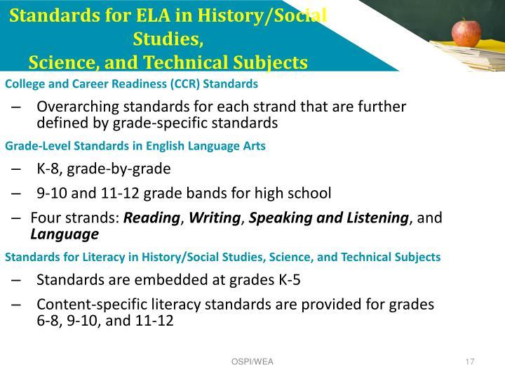 Standards for ELA in History/Social Studies,