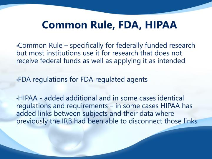 Common Rule, FDA, HIPAA