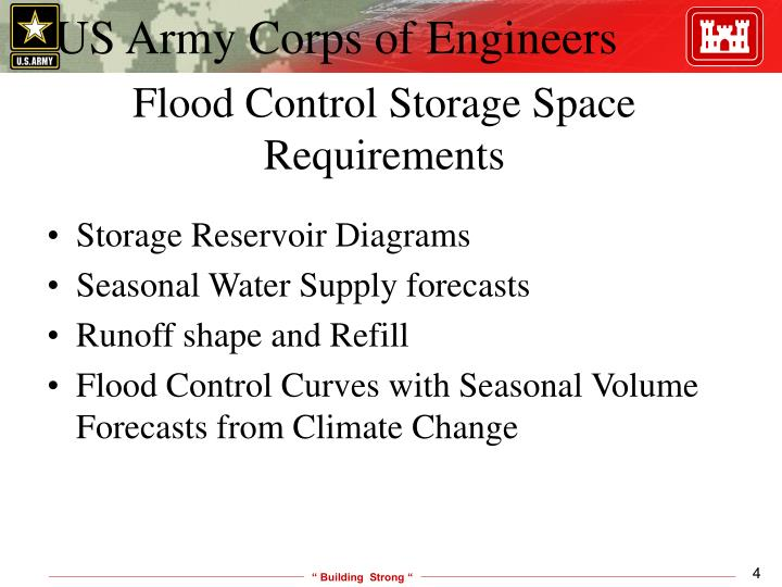 Flood Control Storage Space Requirements