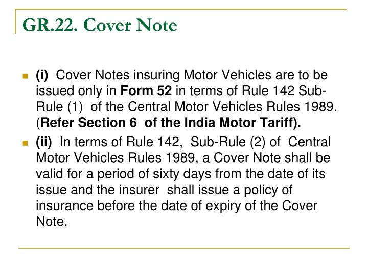 GR.22. Cover Note
