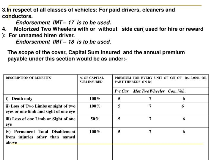 3.In respect of all classes of vehicles: For paid drivers, cleaners and conductors.