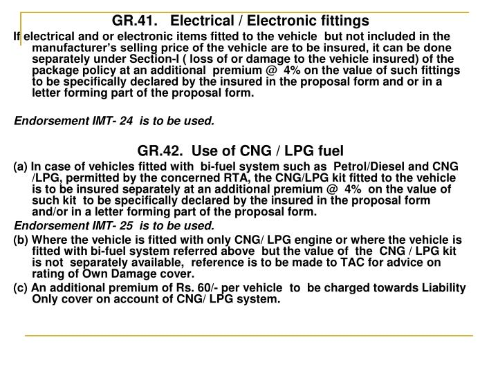 GR.41.   Electrical / Electronic fittings