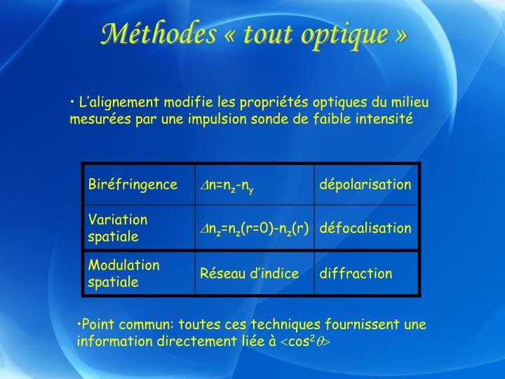 Méthodes «tout optique»