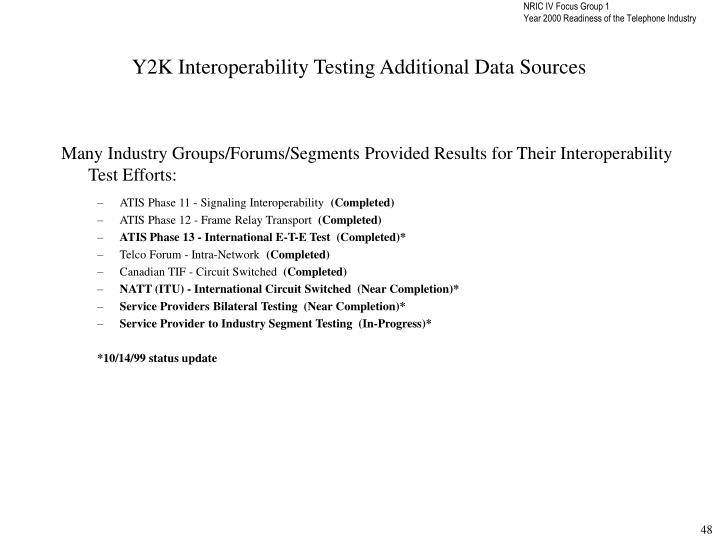 Y2K Interoperability Testing Additional Data Sources