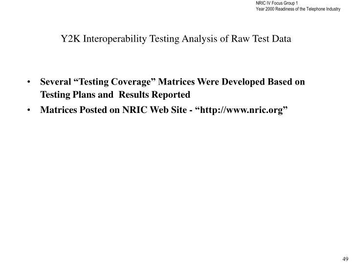 Y2K Interoperability Testing Analysis of Raw Test Data