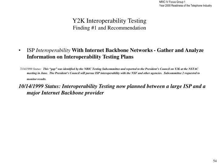 Y2K Interoperability Testing