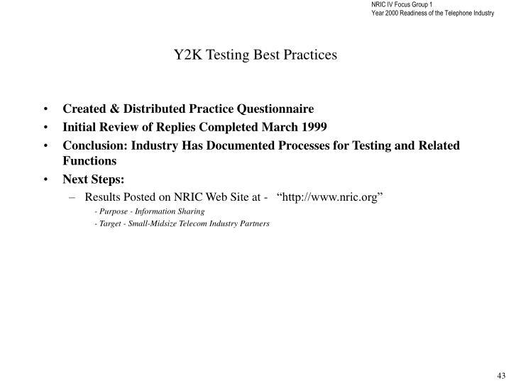 Y2K Testing Best Practices