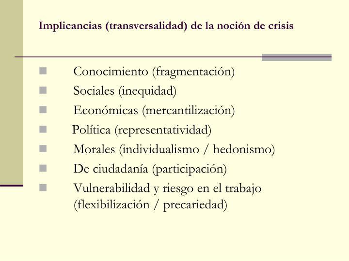 Implicancias (transversalidad) de la noción de crisis