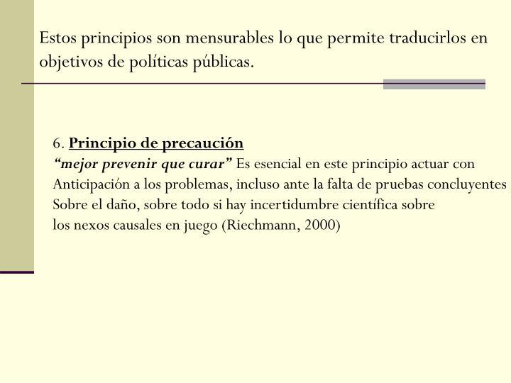 Estos principios son mensurables lo que permite traducirlos en