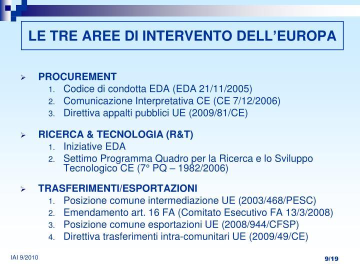 LE TRE AREE DI INTERVENTO DELL'EUROPA