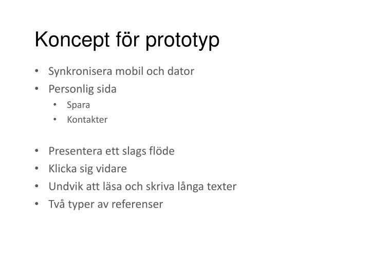 Koncept för prototyp