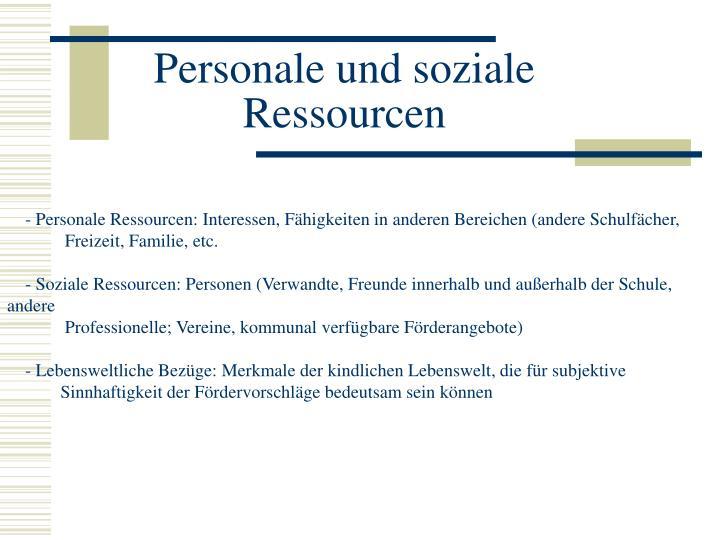 Personale und soziale Ressourcen