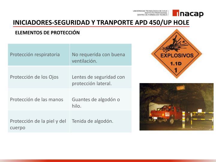 INICIADORES-SEGURIDAD Y TRANPORTE APD 450/UP HOLE