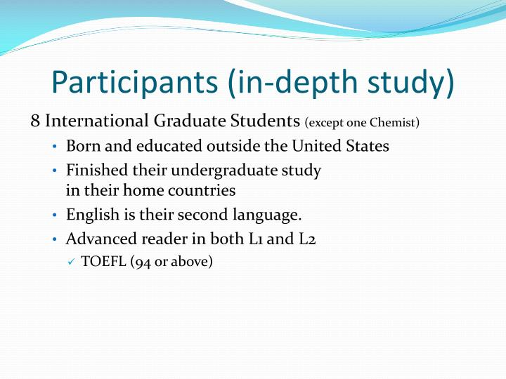 Participants (in-depth study)