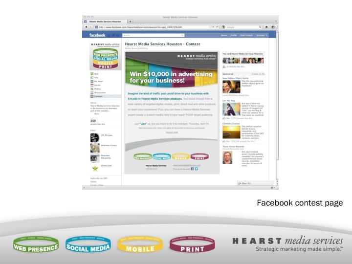 Facebook contest page