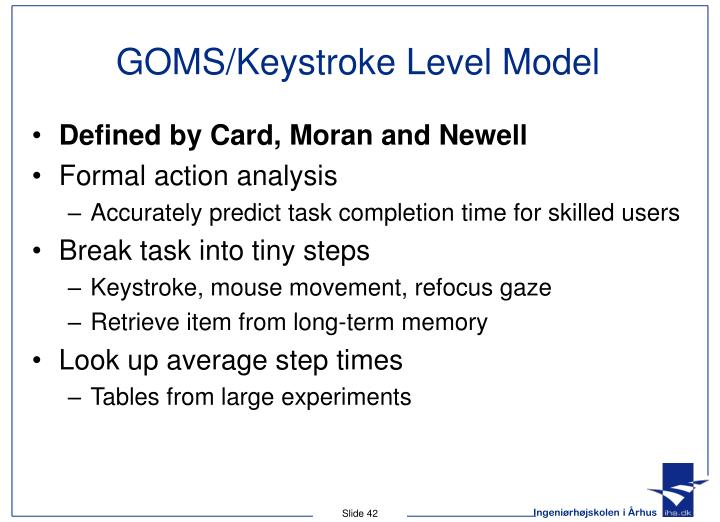 GOMS/Keystroke Level Model