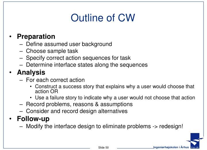Outline of CW