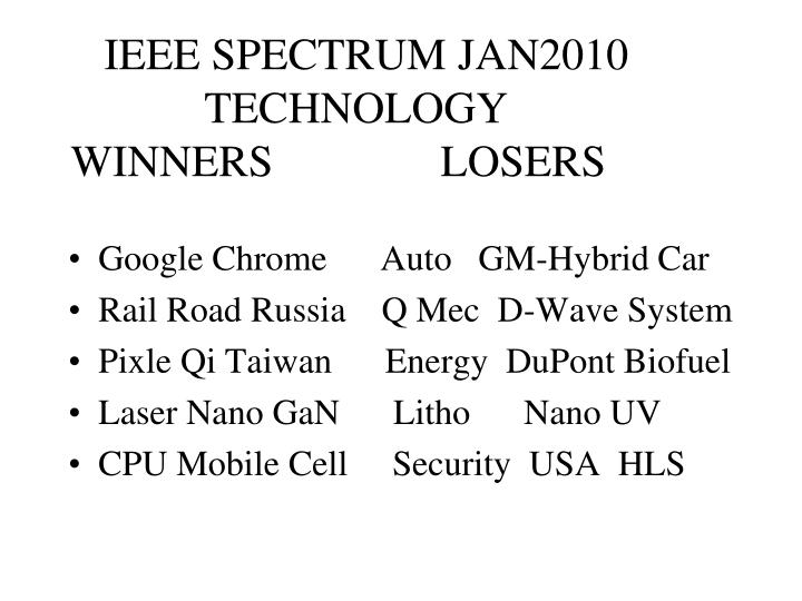 Ieee spectrum jan2010 technology winners losers
