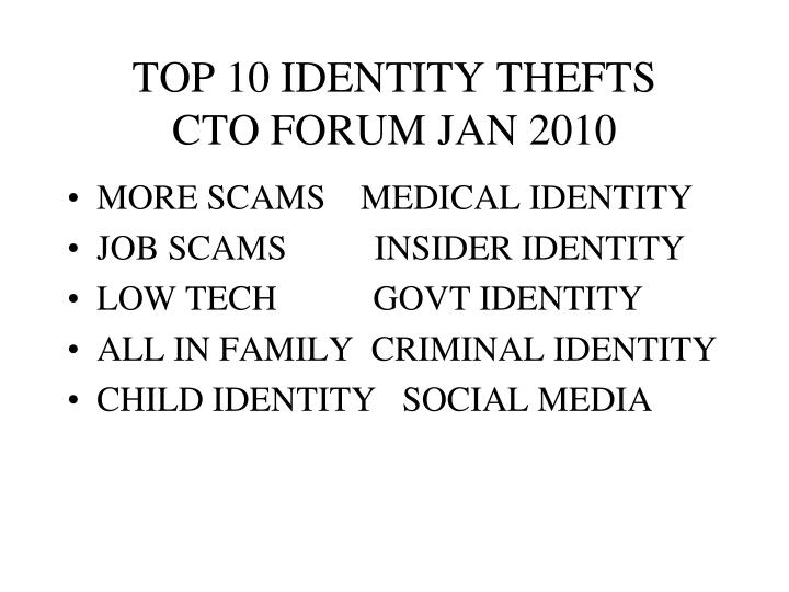 TOP 10 IDENTITY THEFTS