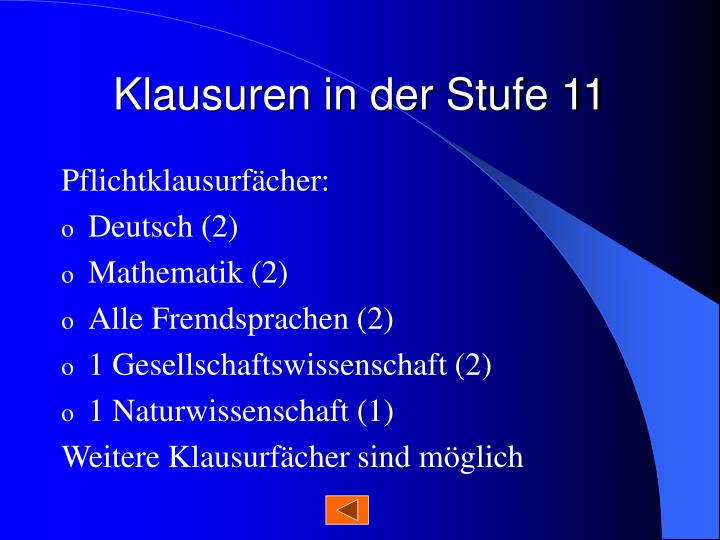 Klausuren in der Stufe 11