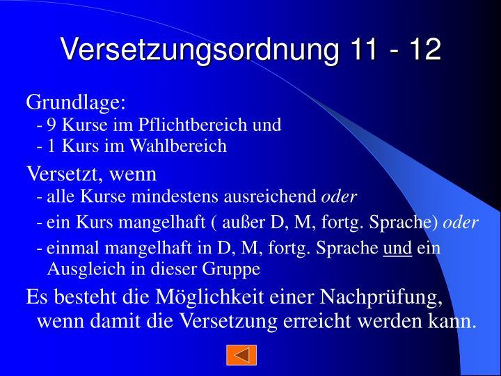Versetzungsordnung 11 - 12