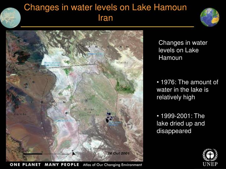 Changes in water levels on L