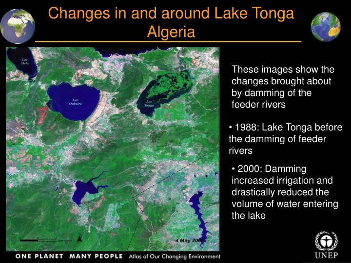 Changes in and around Lake Tonga