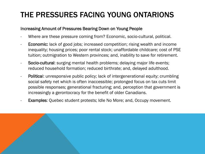 The Pressures Facing Young