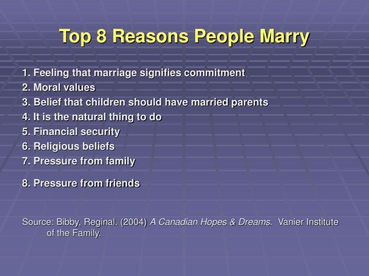 Top 8 Reasons People Marry