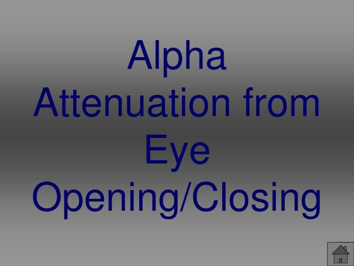Alpha Attenuation from Eye Opening/Closing