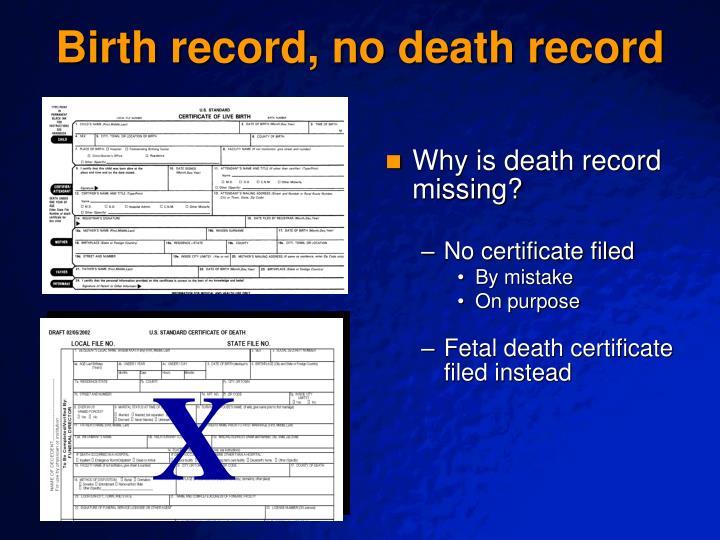 Birth record, no death record