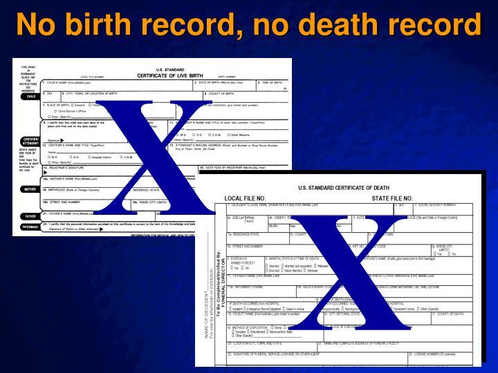 No birth record, no death record