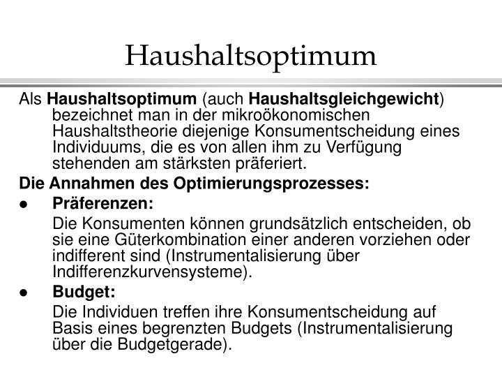 Haushaltsoptimum