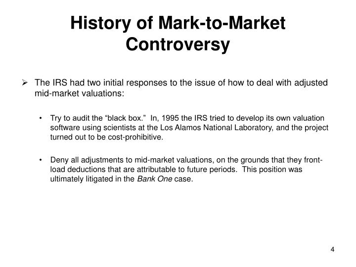 History of Mark-to-Market Controversy