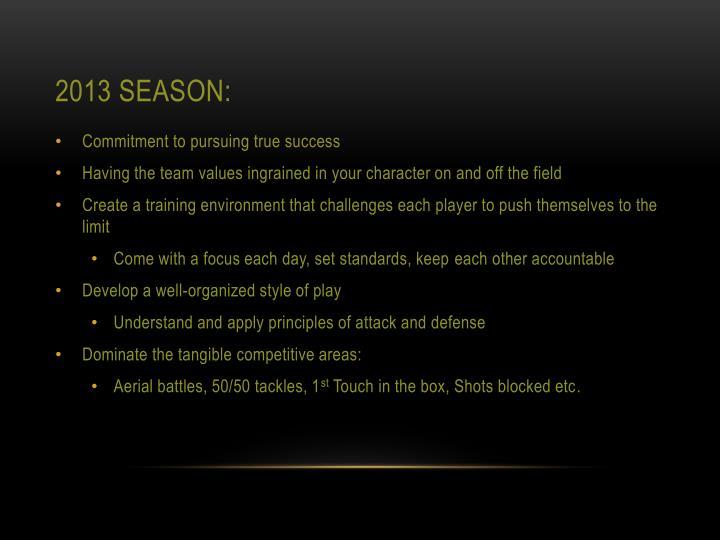 2013 Season: