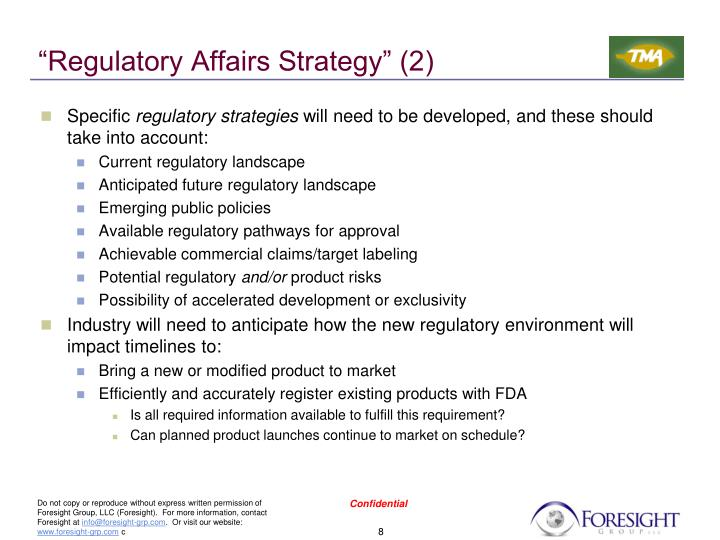 """Regulatory Affairs Strategy"" (2)"