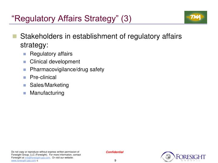 """Regulatory Affairs Strategy"" (3)"