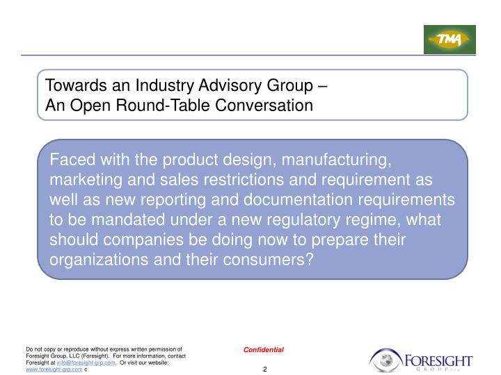 Towards an Industry Advisory Group –