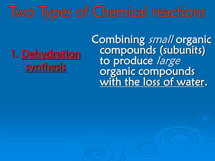 Two Types of Chemical reactions